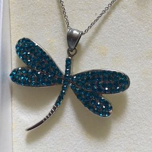 Dragonfly necklace on silver chain.